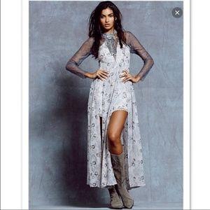 Free people watercolor maxi silk dress, 4
